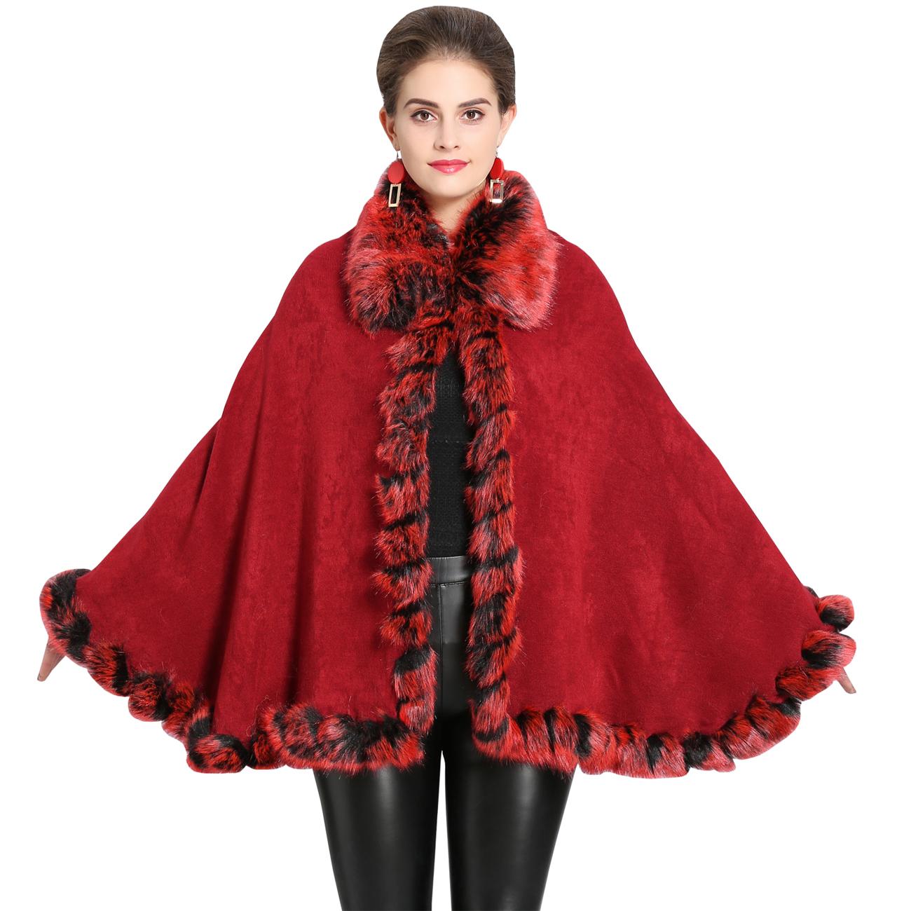 Winter Women/'s Faux Fox Fur Cape Shawl Wedding Party Wrap Poncho Jackets Outwear