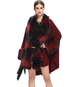 Ladies Womens Faux Fur Trim Shawl Wrap Poncho Coat Jacket